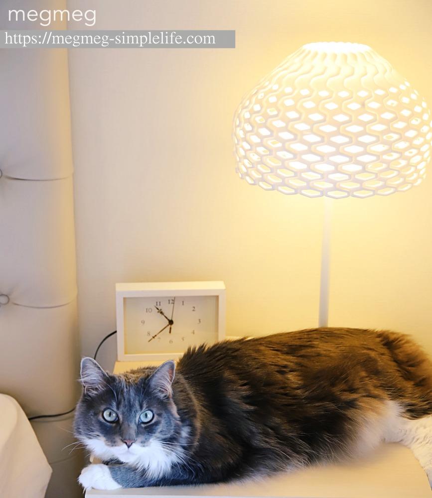 ベッドサイドテーブルの照明