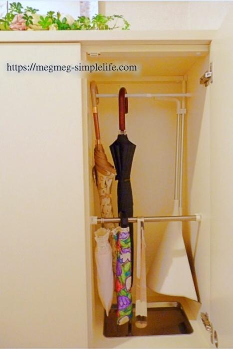 突っ張り棒で傘収納